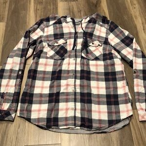 Plaid Columbia Button Up with Hood!